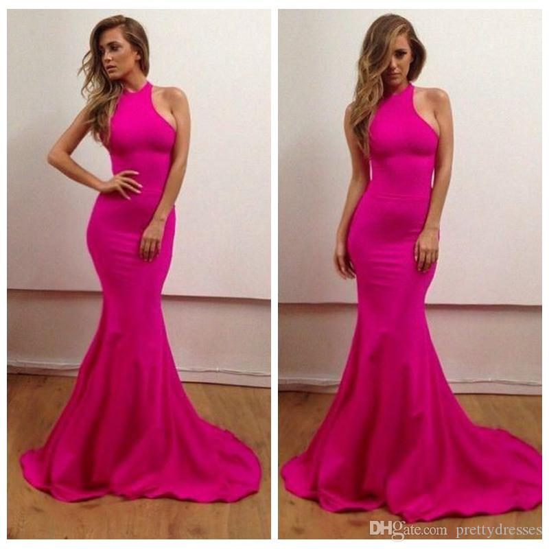 Halter Slim Mermaid Prom Dresses Sweep Train Long Backless Sexy Junior 2019 Evening Party Gowns Simple Vestidos De Soiree Cheap