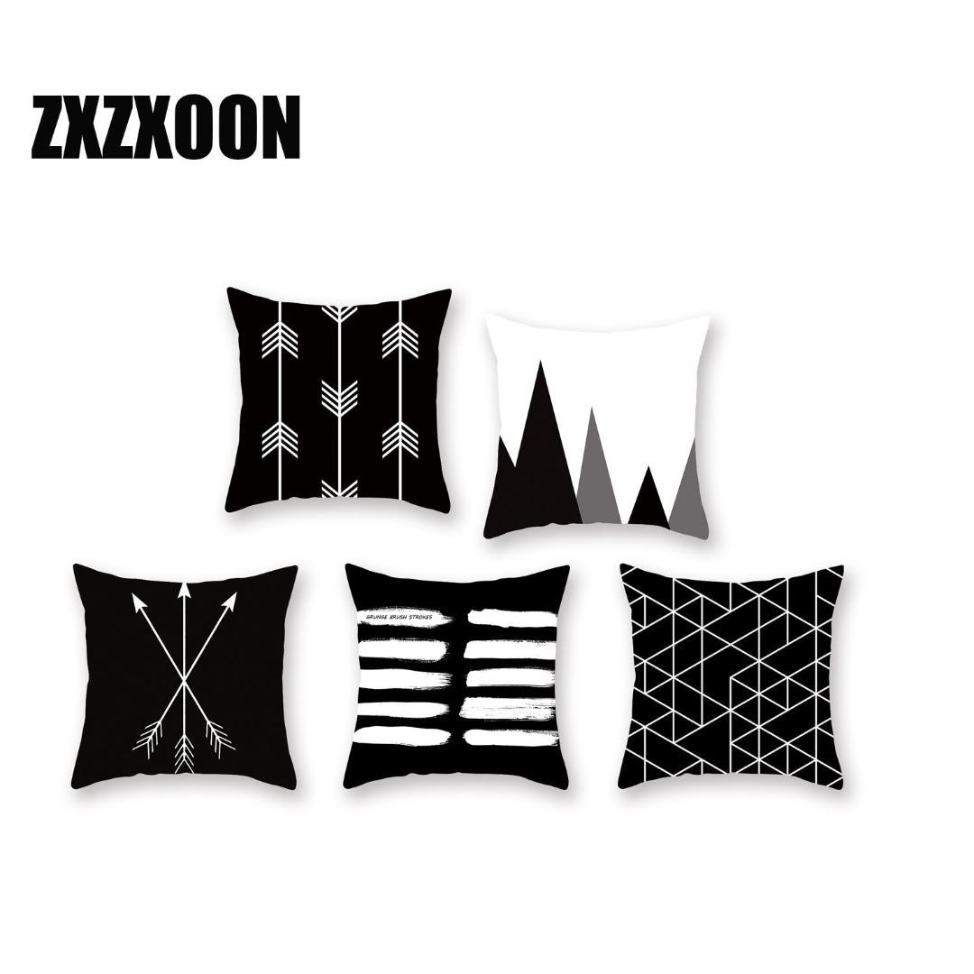Black And White Geometric Stripe Wave Throw Pillows Cushion Covers Case Polyester Cojines Decorativos Para Sofa Car Home Bedroom Replacement Outdoor