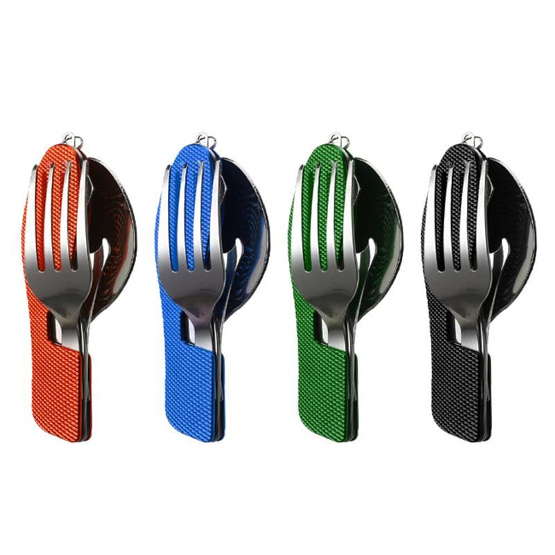 4 в 1 Открытый Посуда Набор Вилка / ложка / нож / открывалка для бутылок из нержавеющей стали складные карманные наборы для походной выживания путешествия