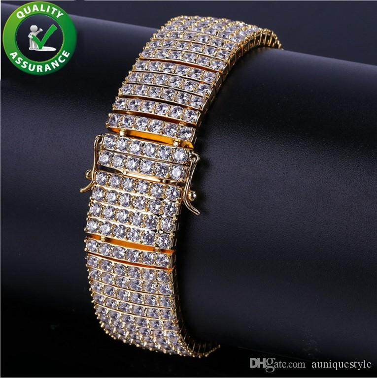 Iced Out Diamond Tennis Chain Bracelet Hip Hop Jewelry Mens Bracelets Gold Silver Luxury Designer Bangle Love Micro Pave Cubic Zirconia Link