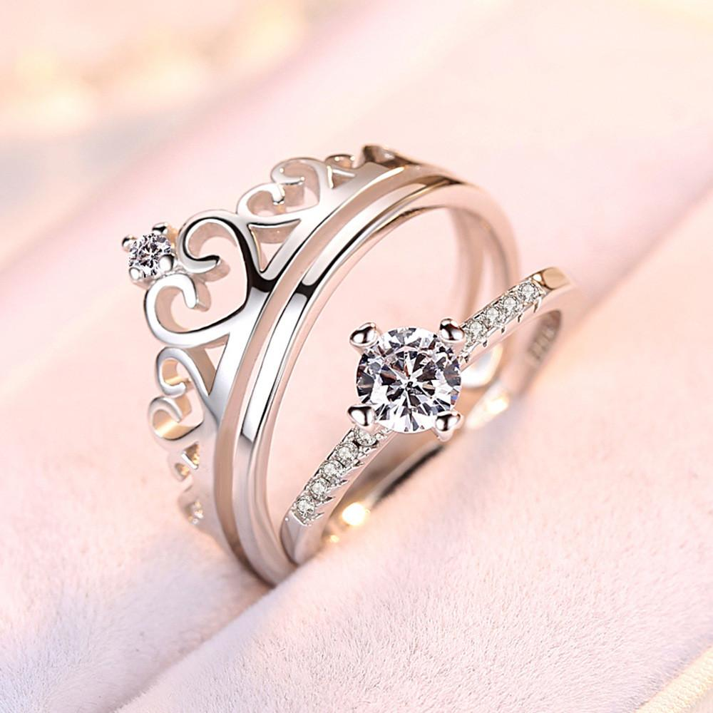 Cubic Zirconia Sweet Heart Crown Rings Sets 925 Silver Fashion CZ Crystal Engagement Wedding Jewelry For Women +WH38