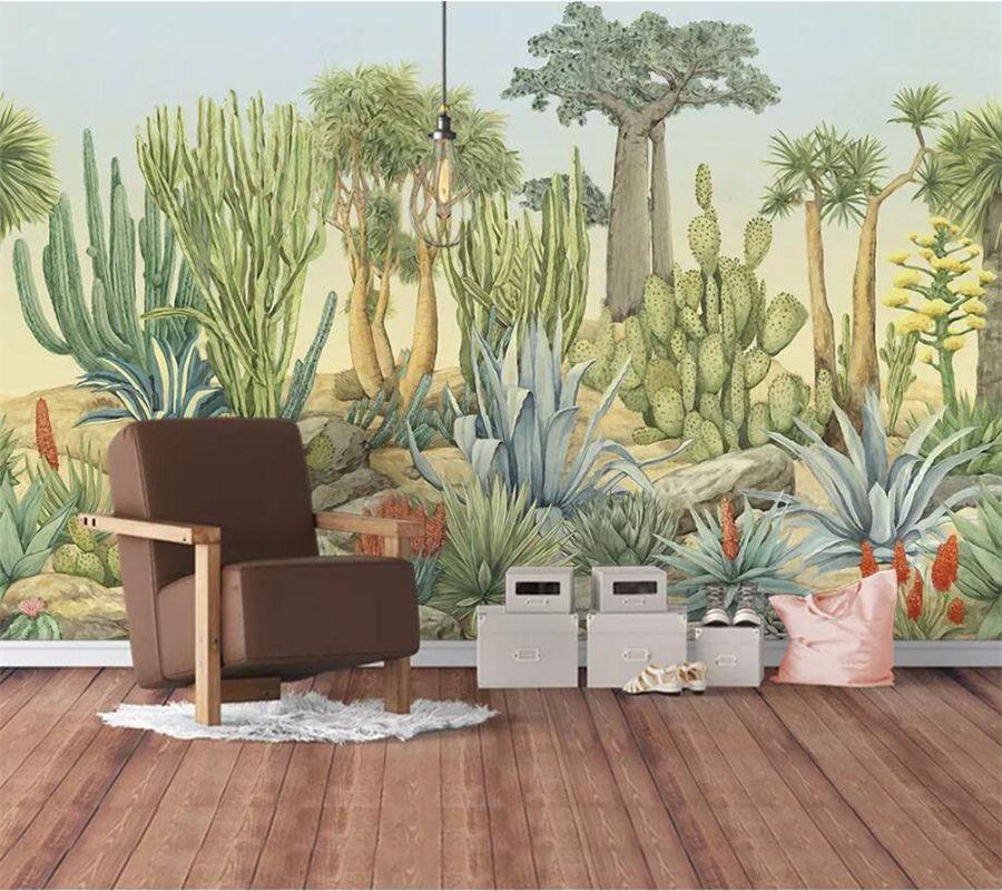 beibehang Пользовательские обои 3d большой настенная Papel де Parede Европейский ретро садовое растение кактус гостиной ТВ фон стены Папе