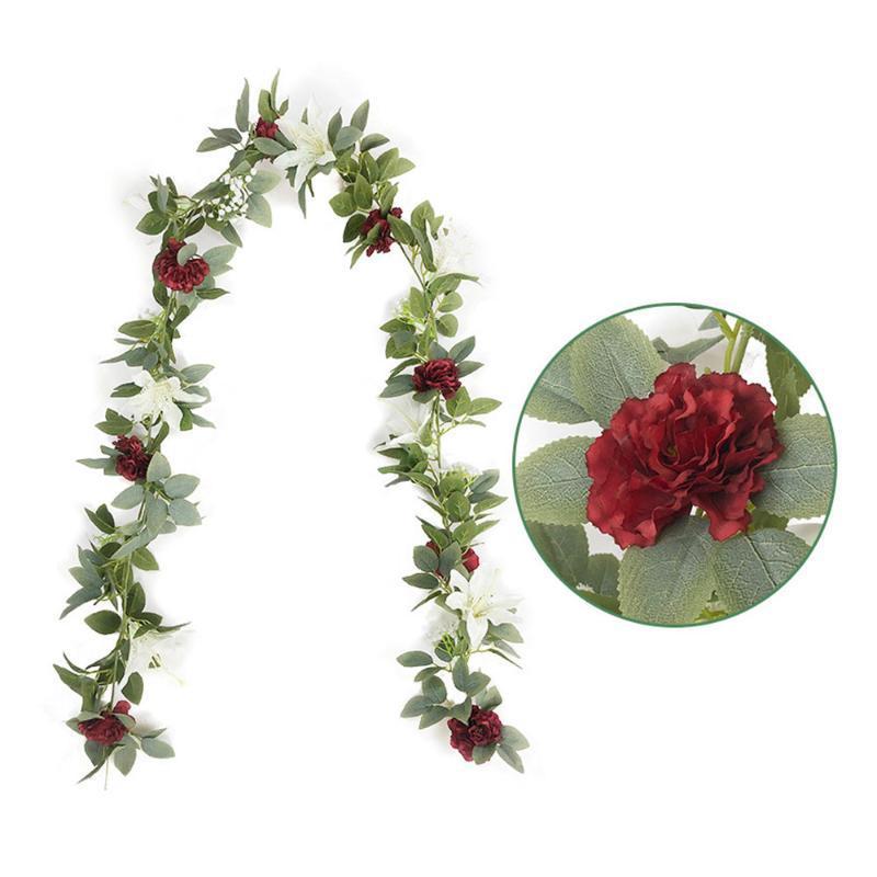 2020 New Artificial Vine Flower Garland Decorations Hanging Garland for Wedding Arch Arrangement Christmas decor Mar12