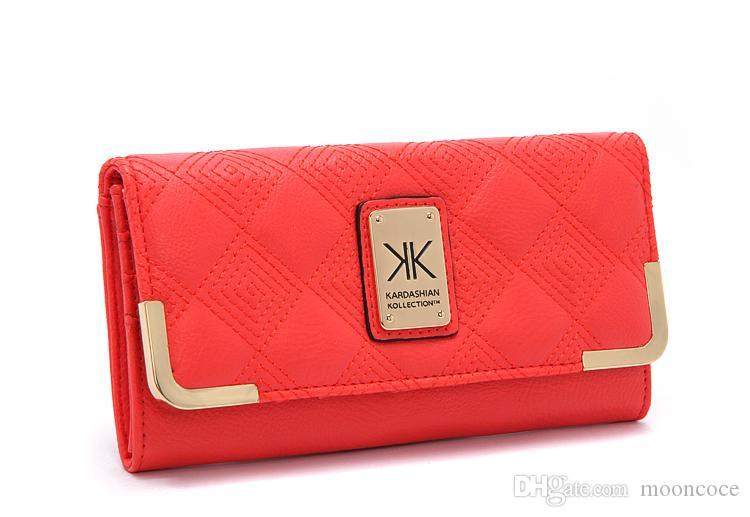 HOT-Kardashian kollection Designer KK Brieftasche Kim Kardashian Kollection lange Brieftasche PU weiß und schwarz kk Damen Brieftaschen Mode Geldbörse