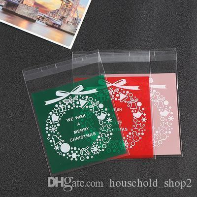 Noël Père Noël en plastique Sacs cadeaux avec de la colle d'étanchéité Biscuits de Noël bonbons cuits Emballage alimentaire Nouvel An Décoration