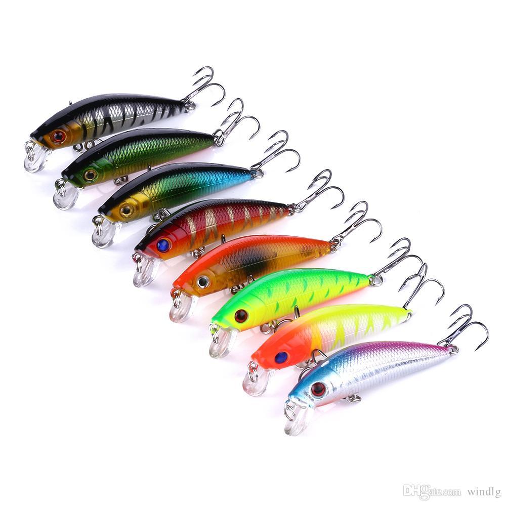 Nuovo Arrivo 70 MM 8 colori Minnow Fishing lure 40 pz / lotto Attrezzatura da pesca Minnow 7 CM 8.1 G Giappone gancio di pesca manovella esca spedizione gratuita