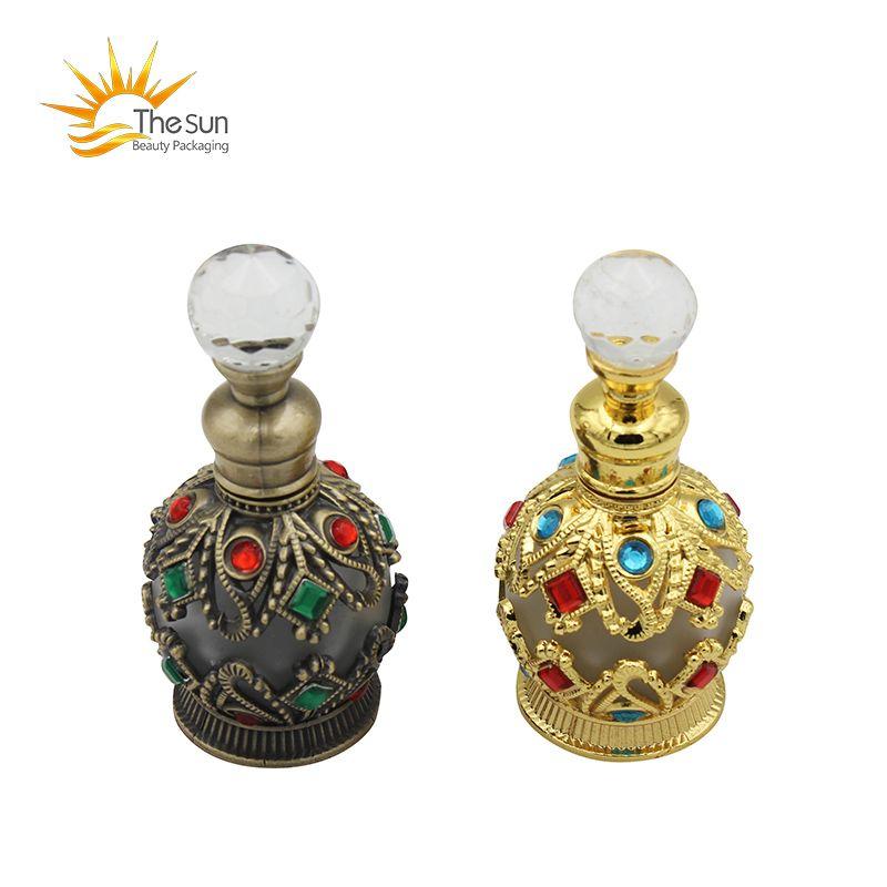 15ml Reise Nachfüllbarer Parfüm Flasche arabische ätherische Ölbehälter-leere Duftflaschen Dubai mit Kristalliten verklebt