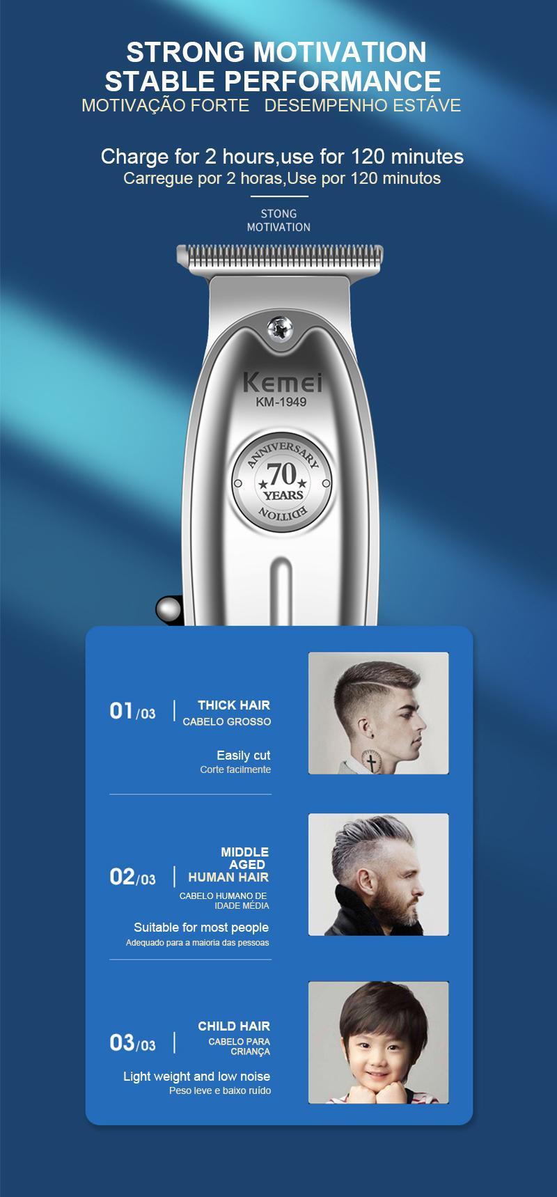 Kemei 1949 Professional professional barber kit Trimmer 0mm Baldheaded T Blade Finish Haircut Machine bwkf WvmQO