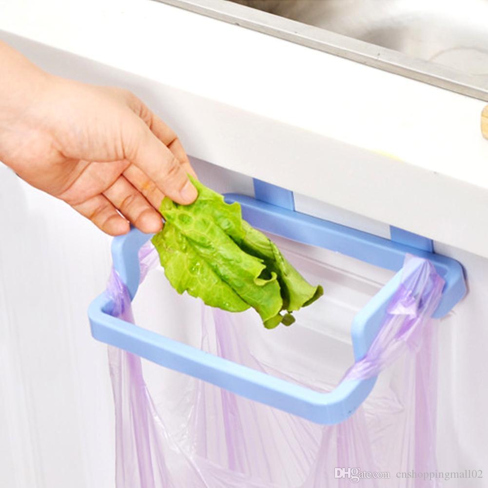 Garbage Bag Hanging Holder Cupboard Door Back Trash Rack Kitchen Cabinets Storage Towel Shelf Holders Storage