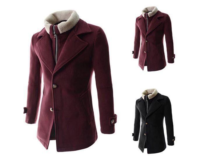Manteau d'hiver chaud Mens Trench style élégant simple boutonnage Hommes Manteau en laine trench-M 2XL