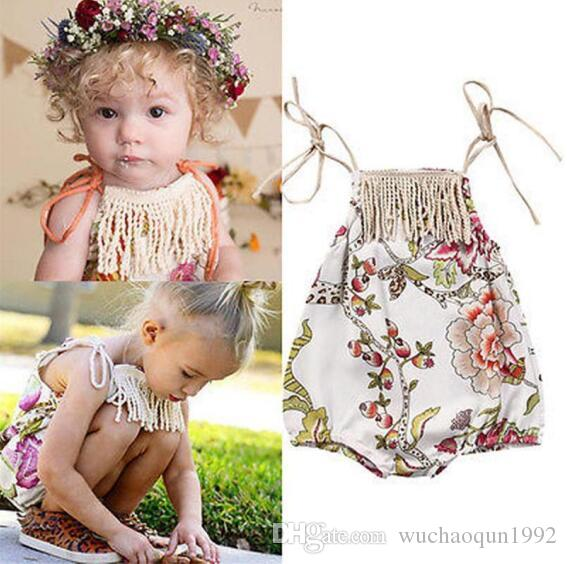 baby girls flower braces romper tassel floral romper infants climbing clothes cute summer outfits for 0-2T 2colors