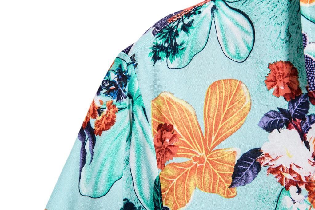 Estate camicia degli uomini etnici manica corta Stampa Camicia hawaiana camicetta di cotone camice floreali casuali più il formato 5XL camisa Masculina
