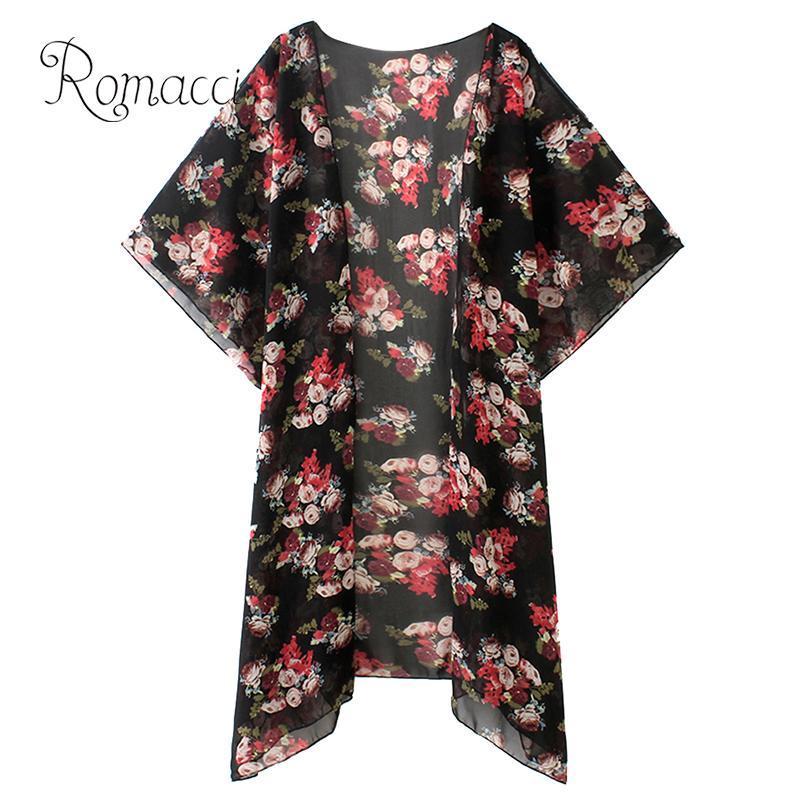 여성 비키니 기모노 꽃 잎 인쇄 앞면 불규칙한 낮은 높음 대마침 비치웨어 커버 업 캐주얼 쉬폰 커버 업 블랙