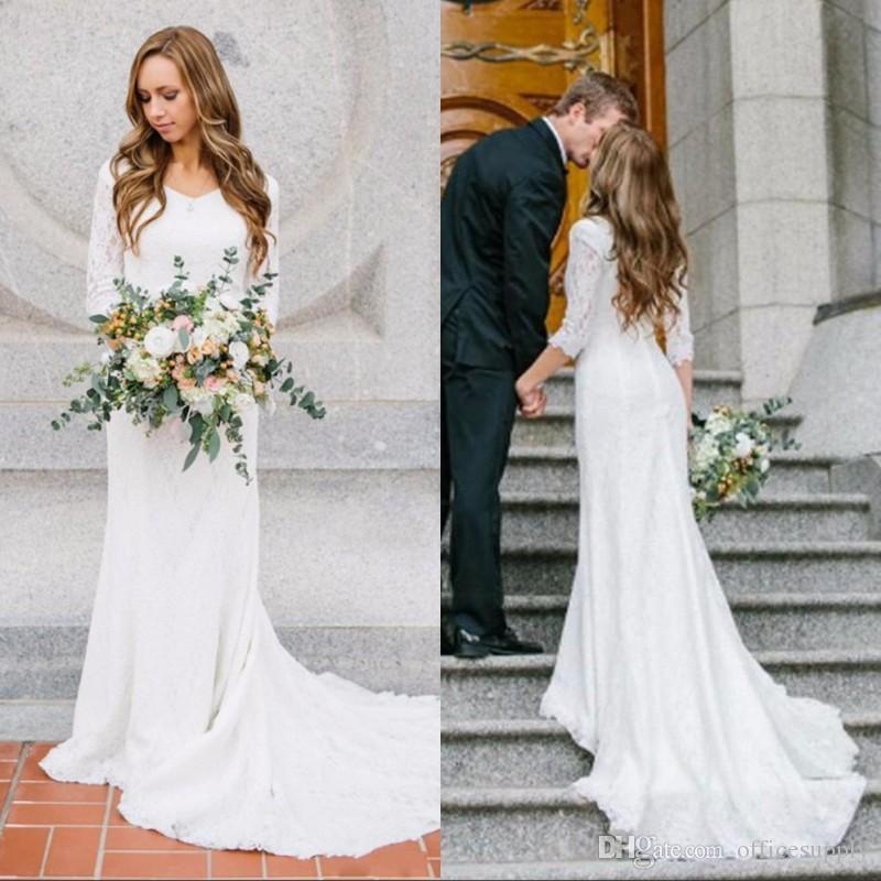 2019 Abiti da sposa con maniche lunghe Scollo a barchetta Bohemian Lace Mermaid Abiti da sposa Paese Custom Made