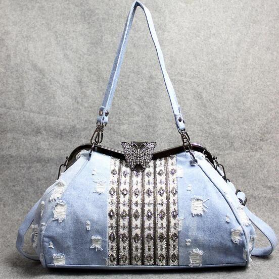 2020 Yaz yeni kadın çanta açık mavi kot moda kişilik omuz çantası kelebek klip elmas çapraz vücut büyük kapasiteli