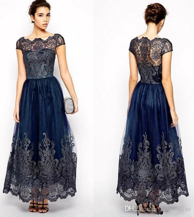 Vintage Mother Of Bride Dresses 2019 Cap Sleeves Plus Size Navy Blue Lace  Appliques Ankle Length Women Formal Bridesmaid Gowns BC0677 Mother Of The  ...
