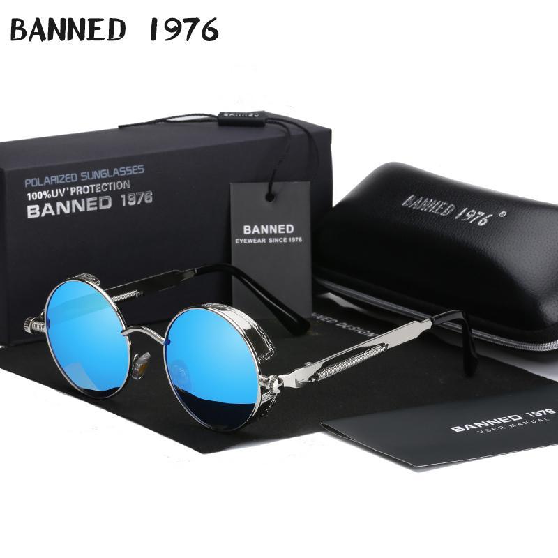 2020 Retro Ronda de metal polarizadas punk Steampunk Gafas de sol de alta definición para las mujeres de los hombres, camisetas del Gafas de sol Gafas de sol de feminino masculino CX200704