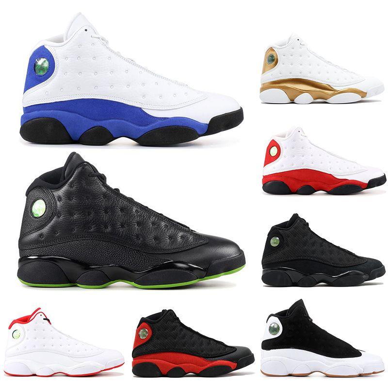 с носками 2019 Высокое качество 13 Bred Chicago Flint Атмосфера Серые Мужские Баскетбольные кроссовки ВЫСОТА ПШЕНИЦА ЧЕРНАЯ КОШКА 13s спортивные кроссовки