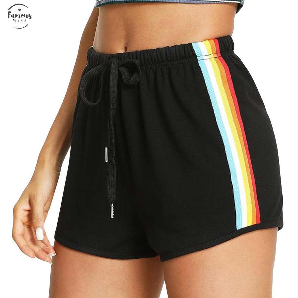 Nueva 2019 manera de las mujeres del arco iris Imprimir deporte elástico de los pantalones cortos Pantalones cortos de desgaste caliente simple floja envío