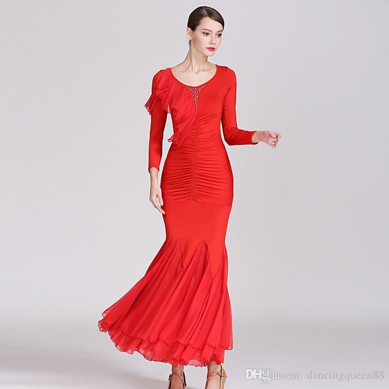 3 cores vermelho roupas de dança de salão padrão vestido de salão mulheres vestido de flamenco preto desgaste da dança traje de rumba foxtrot vestido de dança