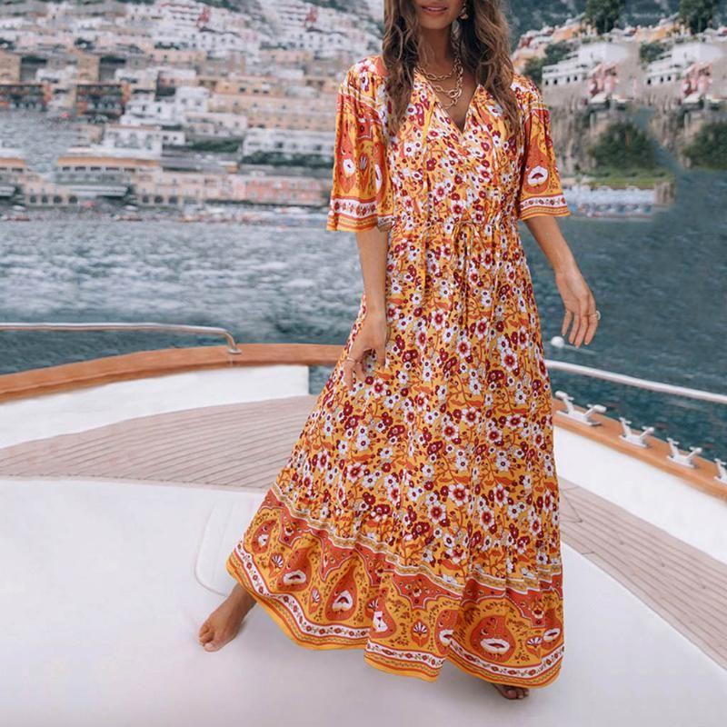 2020 Mode Sommer Sundress Frauen Lange Maxi Vestidos Blumenmuster böhmisches Kleid Damen beiläufige lange Tunika Robe
