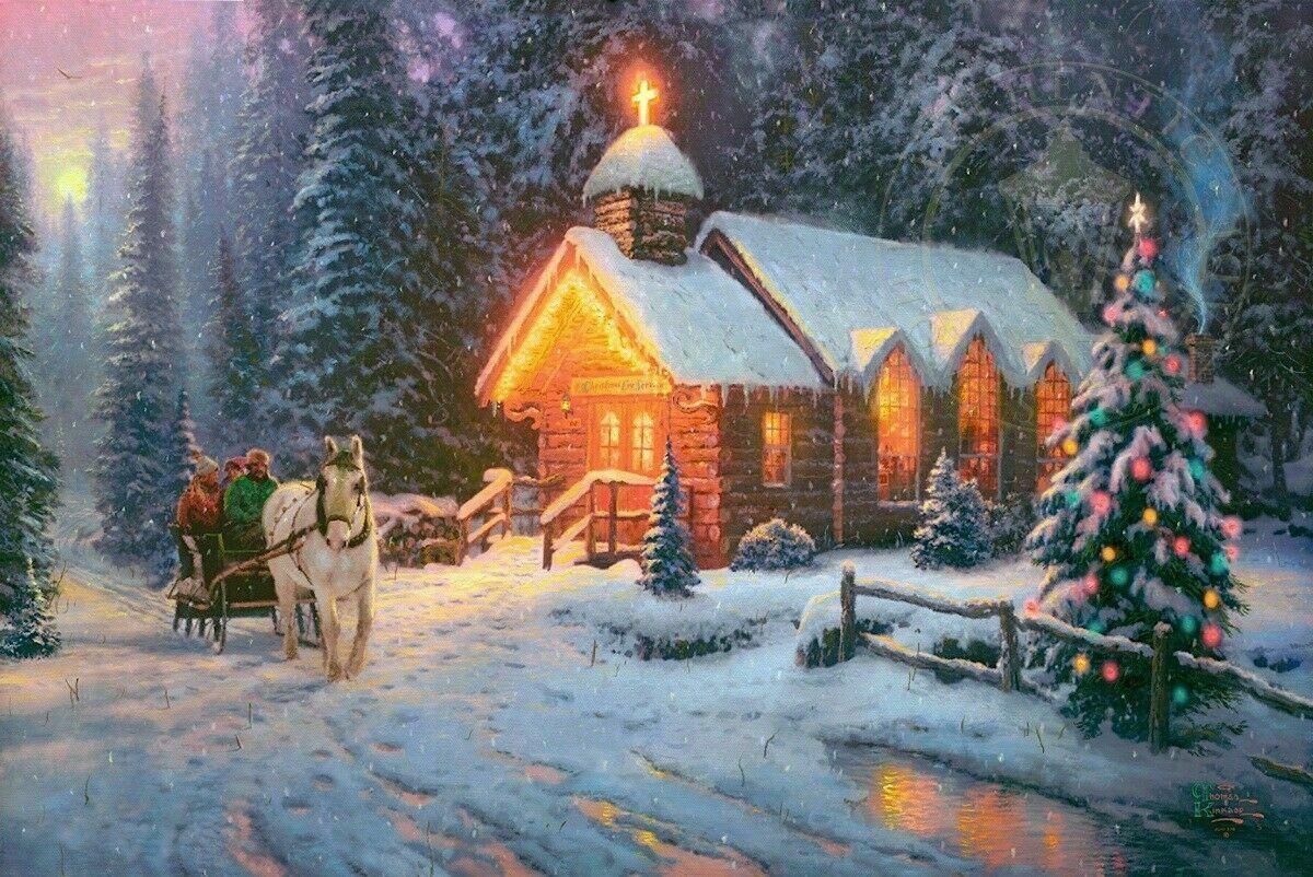 Thomas Kinkade Natal Chapel I Home Decor pintado à mão HD Pinturas Imprimir óleo sobre tela Wall Art Pictures 200122