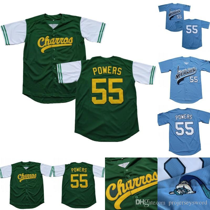 Mens Kenny Powers # 55 Eastbound et Down Mexicain Charros Kenny Powers 100% Couvert Movie Baseball Jersey Vert Bleu Livraison rapide