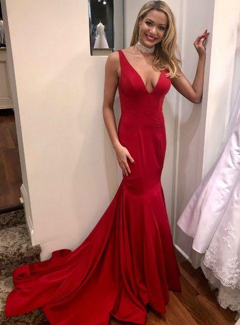 V-Neck lungo della sirena vestiti da sera delle Elatsic robe de soiree Lunghezza Piano di donne sexy corsetto rosso Torna Prom Gowns