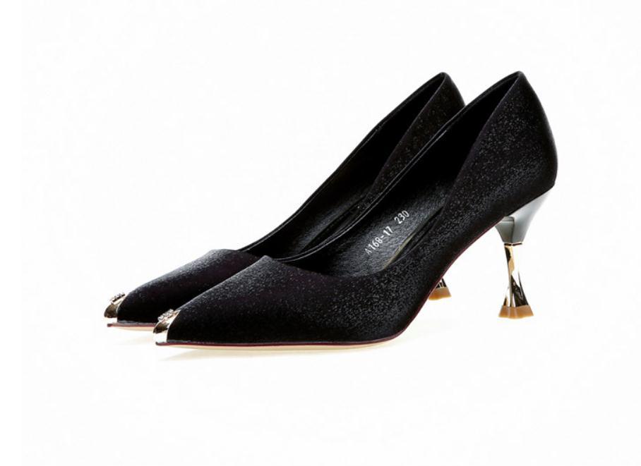 2020 весна и осень с новым стилем мода высокий каблук заостренный конец шелка и атласа Женская обувь@MQWBH734