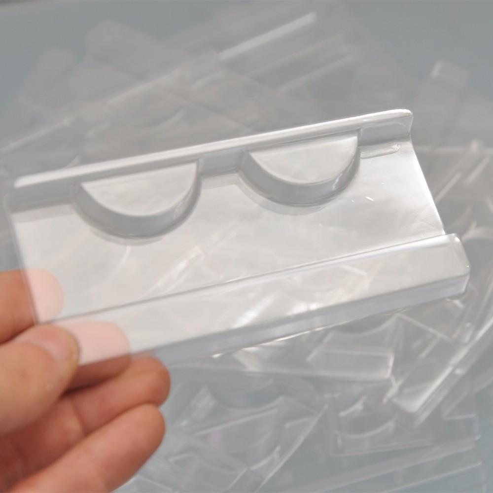 الجملة 100pcs / حزمة من البلاستيك الشفاف صواني السوط لإدراج حامل رمش كاذبة CILS مربع التعبئة والتغليف فو 3D 25MM المنك الرموش صينية للقضية