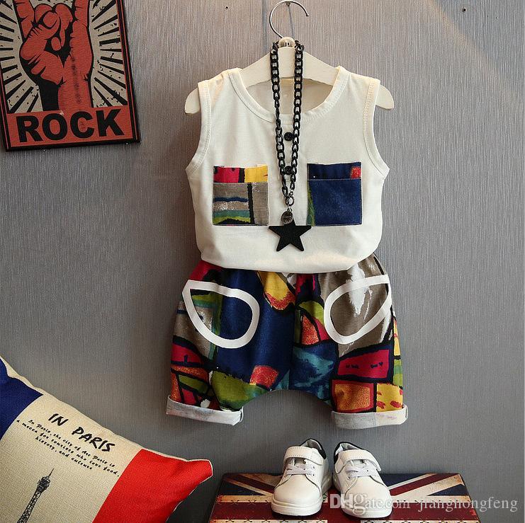 Yaz Bebek Boys Giyim Pamuk Kolsuz Yelek Ve Pantolon Casual Çocuk 2adet Giyim Suit Bebek Spor Outdoor Wear ayarlar