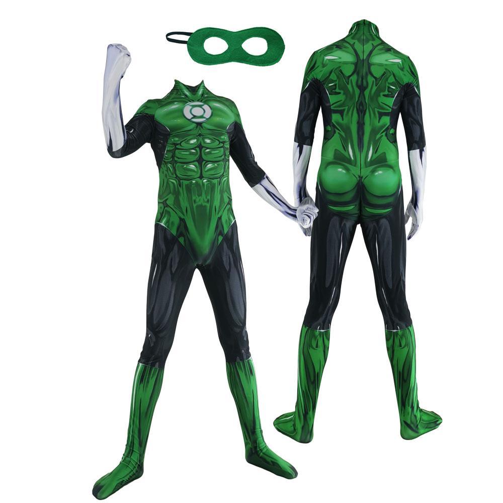 Hohe Qualität Erwachsene Kinder Justice League Green Lantern Kostüm Halloween-Party-Superheld Lycar Zentai Bodysuit Catsuit Overall