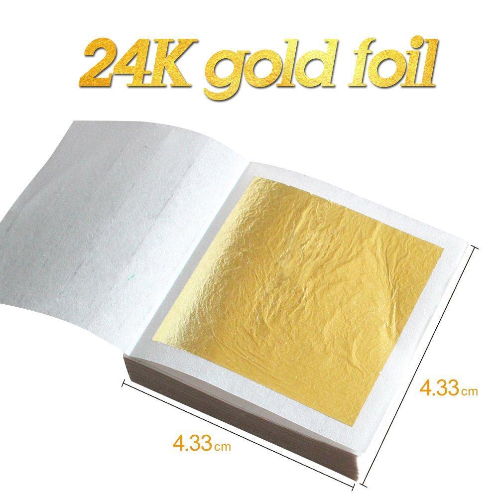50pcs Edible Gold Leaf Sheets 24K Pure Genuine Facial Gold Foil for Cooking Cakes Chocolates Decoration Decor Foil Golden Cover