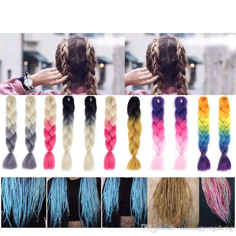 Ombre Kanekalon Synthetic Crochet Hair Extensions Jumbo Braids 24 inch 100g/Pack Hairstyles Pink Blonde Red Blue Braiding Hair