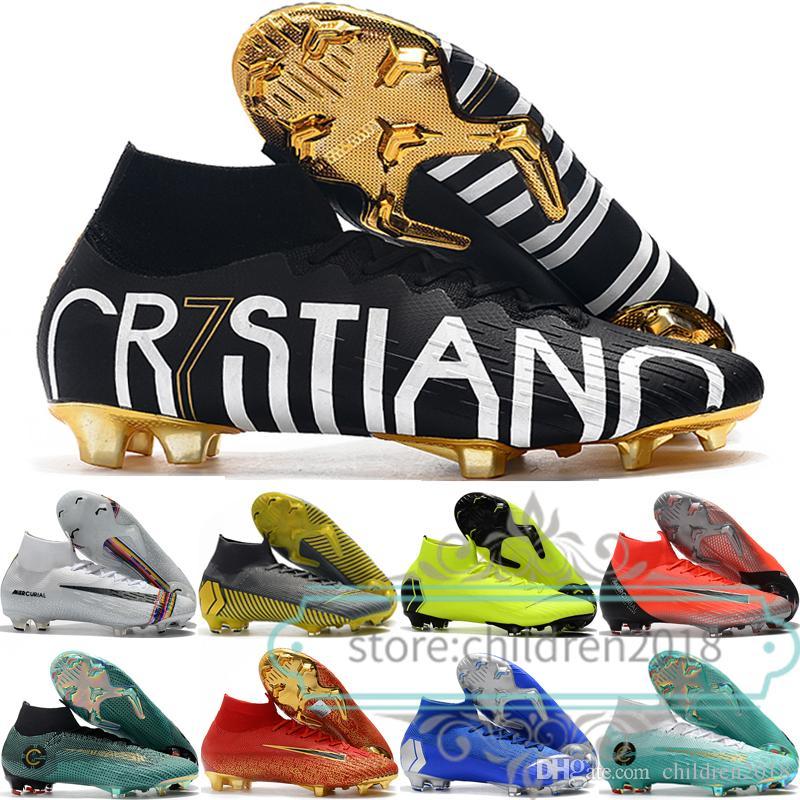 머큐리 Superfly 6 엘리트 아이 축구 신발 소년 소녀 남성 운동화 CR7 FG Cristiano Ronaldo Lvl 최대 큰 어린이 어린이 축구 신발 35-45