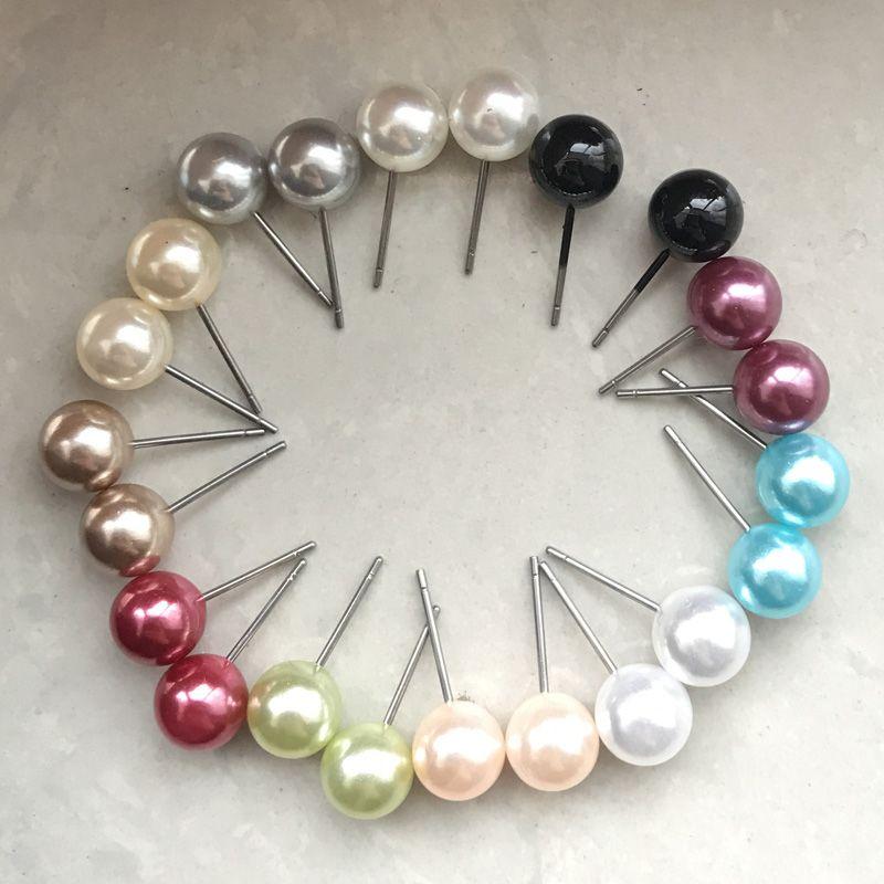 Mezcla pendientes de la manera nueva llegada de 11 colores Pendientes de Perlas Espárragos de 8 mm de perlas para las mujeres señoras de las muchachas Brinco