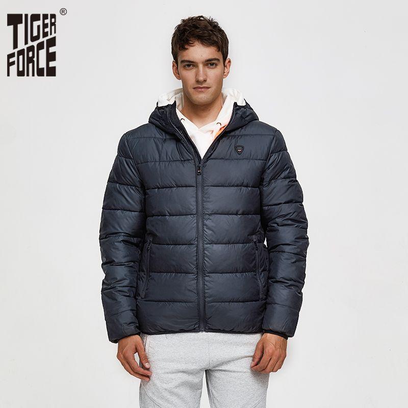 TIGER FORCE 2019 Nueva chaqueta acolchada Moda para hombre Abrigo con capucha informal Algodón acolchado Abrigo de invierno Parka para hombre Puños cálidos Ropa de abrigo
