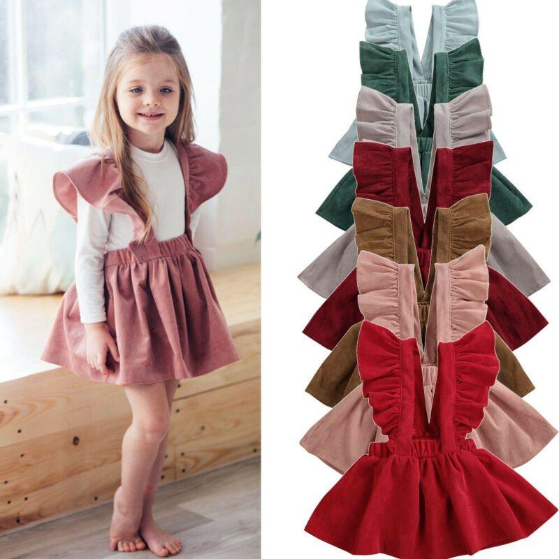 Roupas de verão bonito da criança Bebés Meninas Ruffles mangas Corduroy vestido Tutu Inverno Corduroy Outfits sólidos 1-6T 2020 do bebê