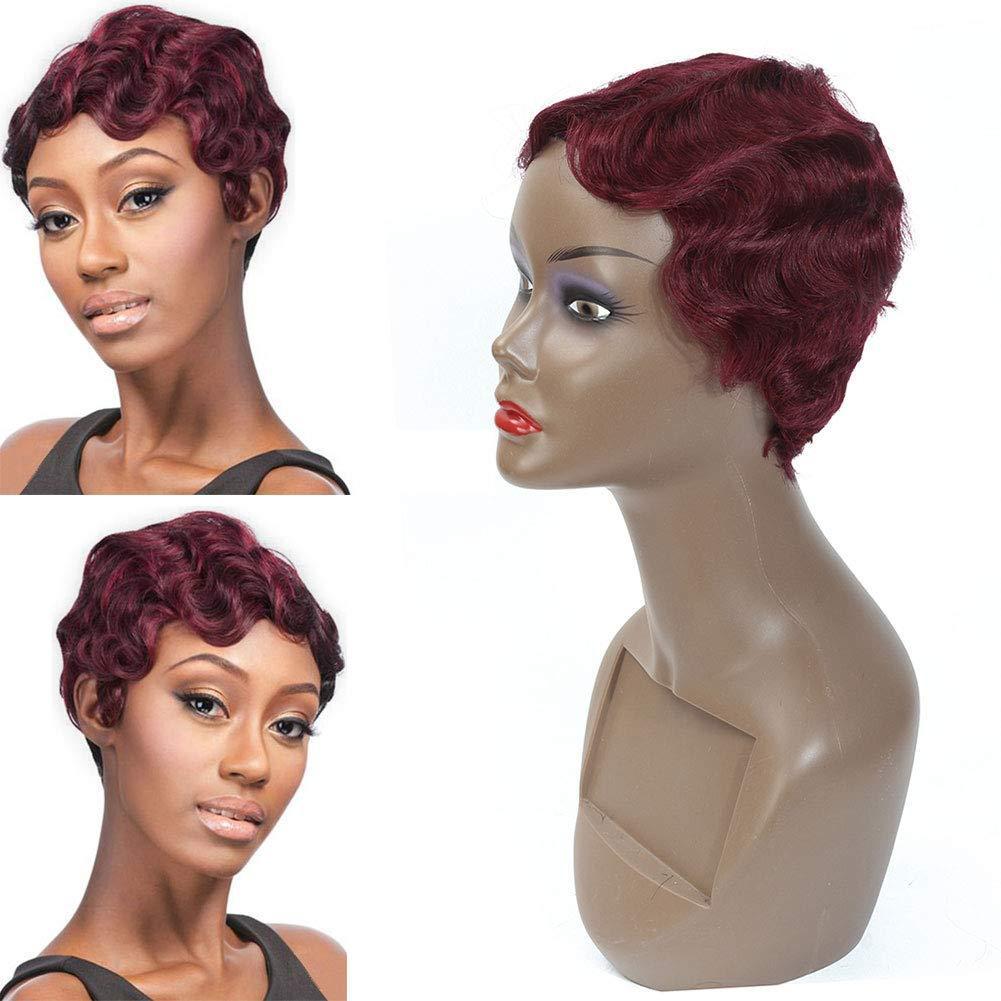Curto Dedo Ondas Curly Wigs para Mulheres Negras do cabelo humano Mommy peruca Africano vinho de Borgonha americano Cor Vermelho perucas de cabelo humano 99j # curta Pixie