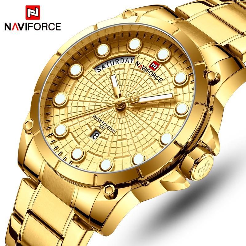NaviForce Top Marca Relógios de Luxo Homens de Aço Inoxidável Relógios Impermeáveis Homens Gold Quartz Men's Wrist Watch Relogio Masculino