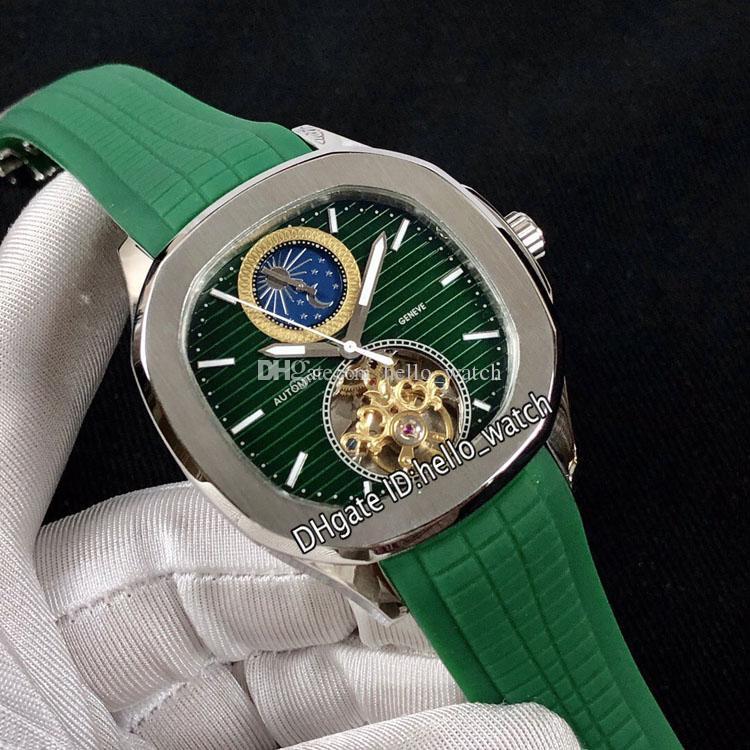 Новый спортивный зеленый циферблат автоматическая фаза луны турбийон мужские часы стальные корпус зеленый резиновый ремень высокое качество часы 10 цвет Hello_watch