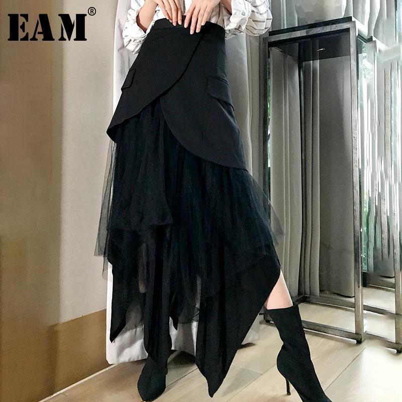 [eam] 2019 Новая весна Высокая Талия черный невосприимчивая сетка Сплит сустав свободные половина тела юбка женская мода прилив все Матч Jk098 Y19043002