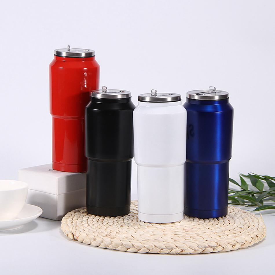 500ML rectas del acero inoxidable Copa flaco alto vaso de café Taza de aislamiento al vacío tazas de agua con tapa Agua paja LJJA3129 Botella