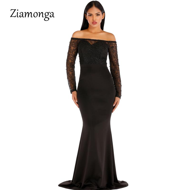 Ziamonga Off The Shoulder Beaded Mermaid Maxi Dress Stretchy Club Party Dress Floor Length Mesh Sleeve Bodycon Strapless Dress