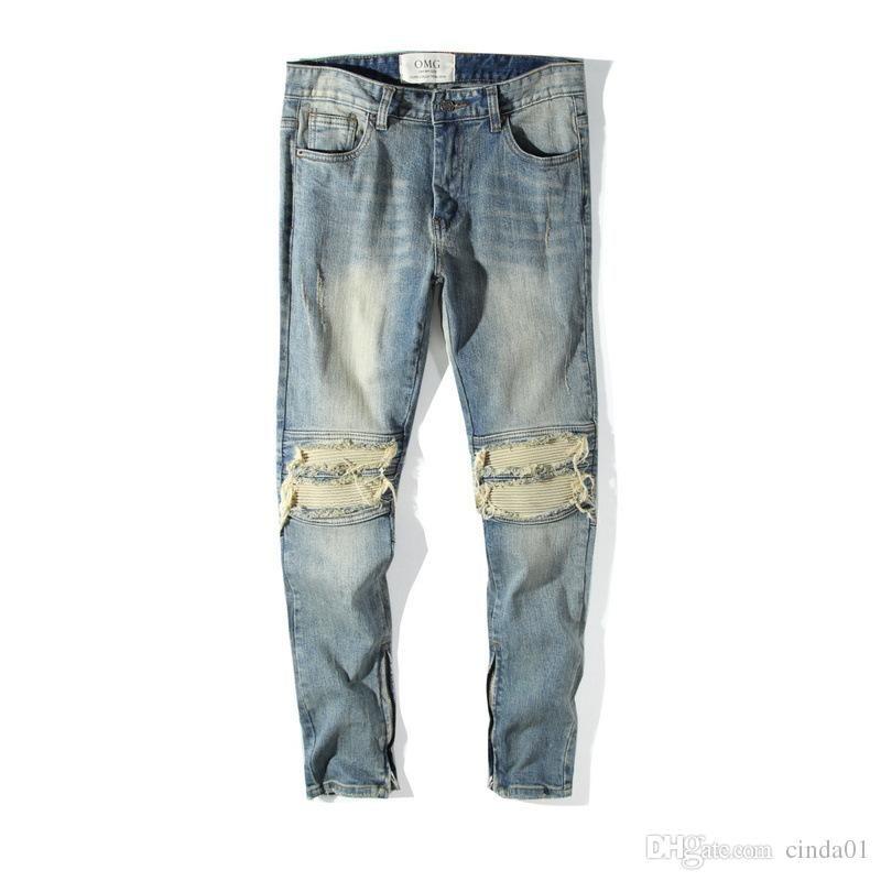 FOG Homens High Street Hip Hop Selvedge Zipper Destruído magro Slim Fit Vintage rasgado azuis Denim Jeans