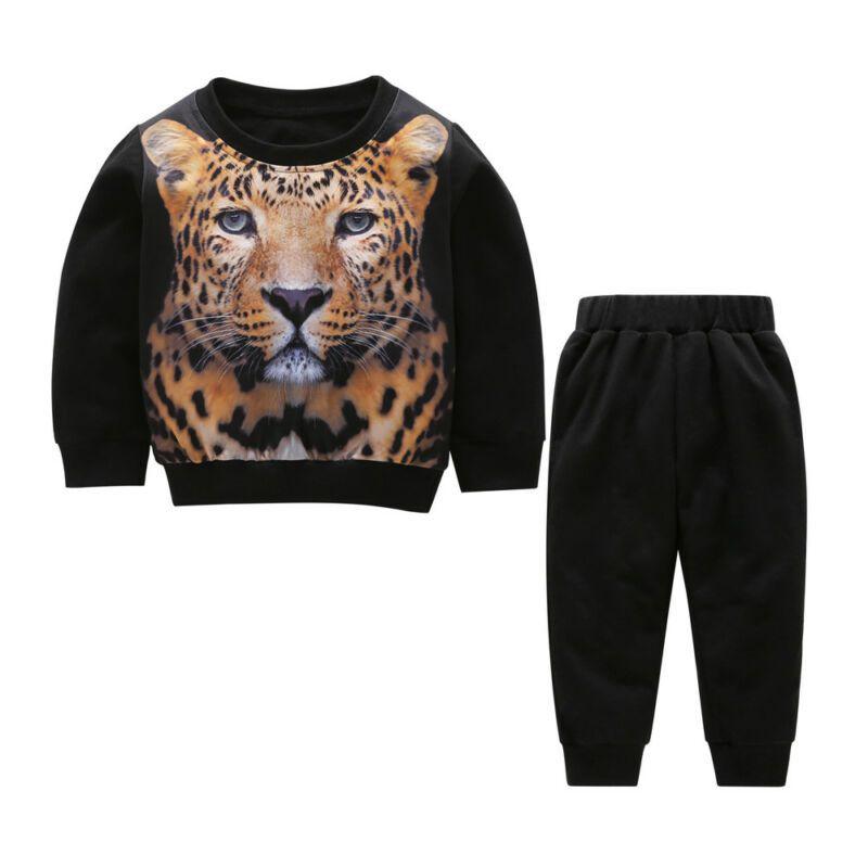 Bebés Meninos Tiger Treino 2PCS camisa de suor Tops + Pants Outfits roupa da criança