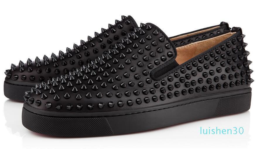 Sapatilhas de fundo Comprar Red calçados casuais das mulheres dos homens baixa Preto Designer completa Spikes rolo Boat Flats Skate Loafers Luxo Homem Mulher L30