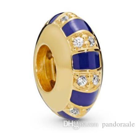 Original Argent 925 Perles Briller Pierres exotiques Stripes Spacer Charm Fit Bracelet Femme Collier Bijoux Diy