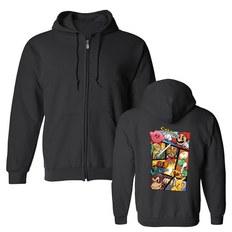 패션 남성용 후드 티 슈퍼 스매쉬 브라더스 마리오 링크 웃긴 멋진 아트웍 프린트 양털 스웨터 하라주쿠 스트리트웨어