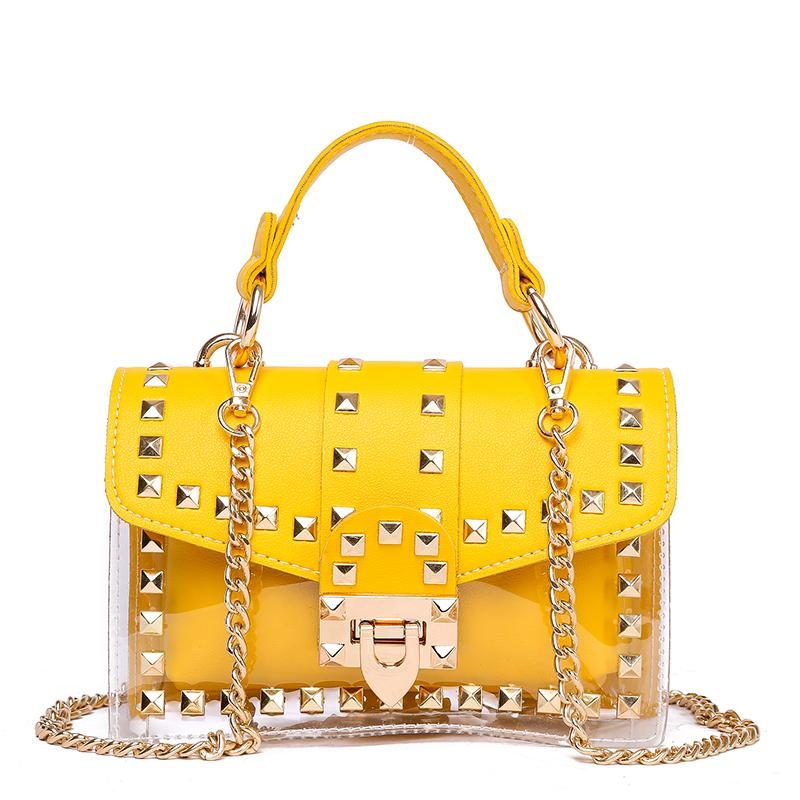 Small clear  Designer Woman 2019 New Fashion Messenger Bag Chains Shoulder Bag Female Rivets Transparent Square PU Handbag
